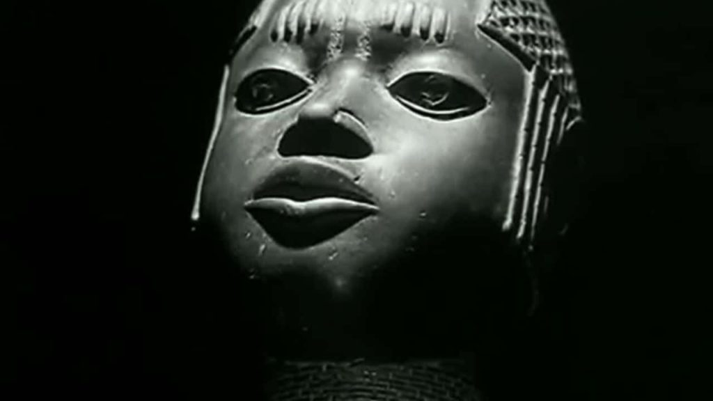 African mask from film Les Statues meurent aussi by Alain Resnais and Chris Marker