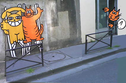 M. Chat appears on Chris Marker's street with Guillaume