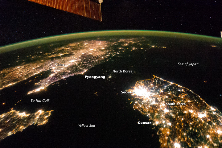 Satellite Image of Dark North Korea