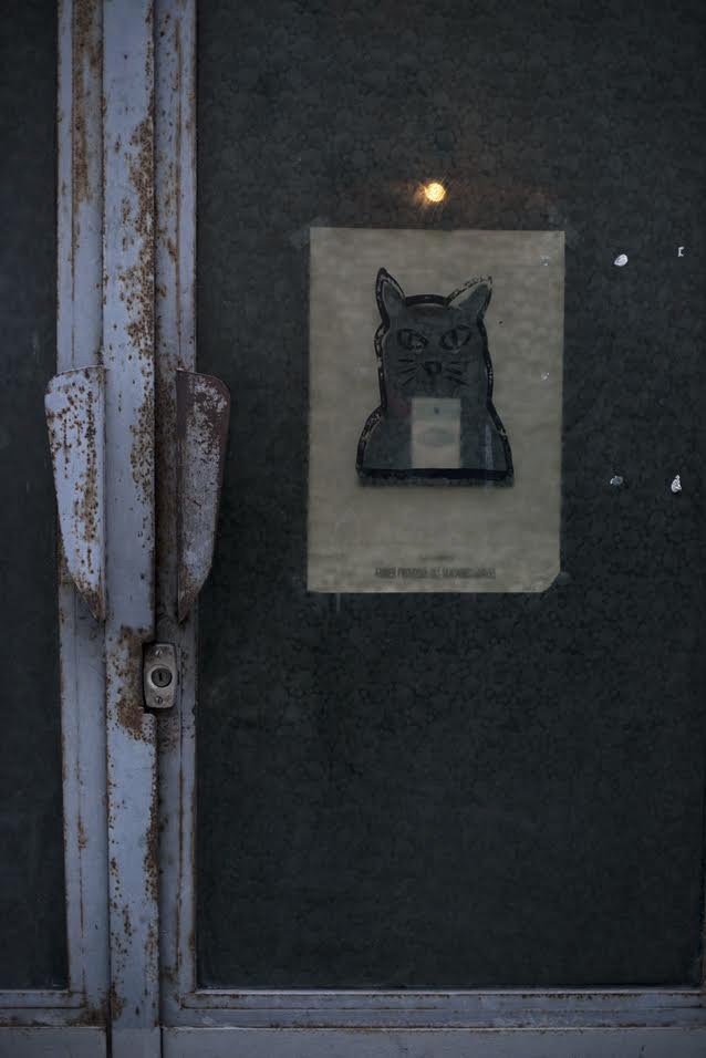 Chris Marker studio door with cat drawing