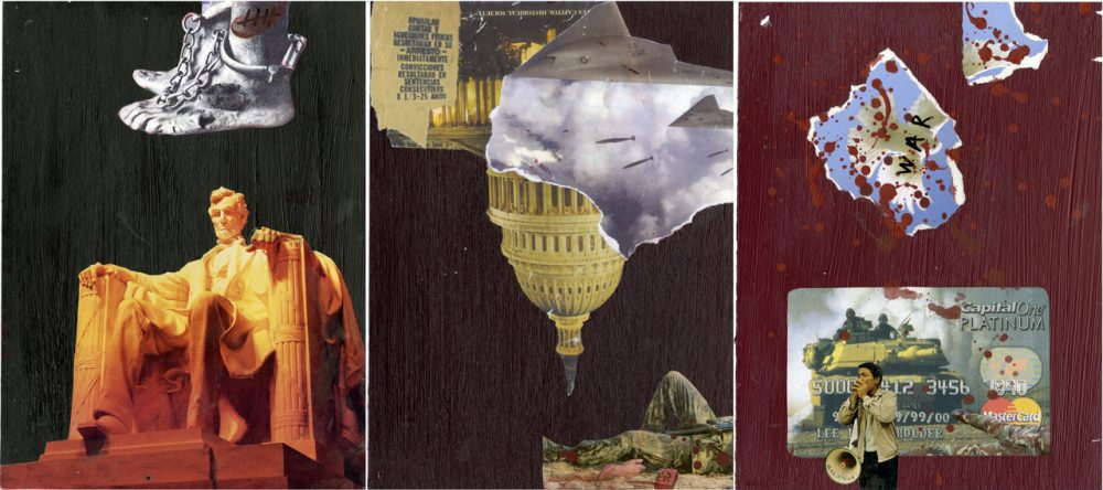 3. Theodore A. Harris The Giant Triplets triptych mixed media collage on board Collection of the artist